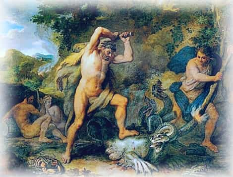 Геракл уничтожает Лернейскую гидру