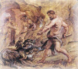 Геракл спускается в царство мёртвых и побеждает Кербера